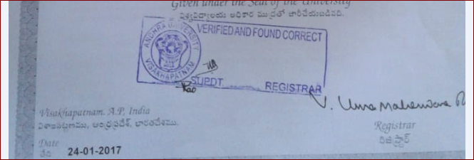 Andhra University-Transcripts process – 100 Transcripts